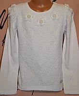 Детская кремовая блуза с гипюром 95% коттон Breeze