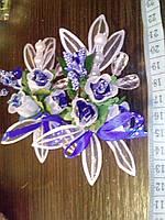 Свадебная бутоньерка (Ц-б-ДМ-10) (синяя)