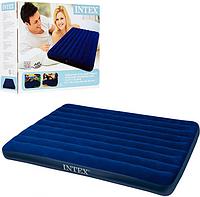 Надувной велюр матрас Intex 68759 (синий, средний)