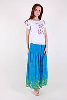 Модная женская летняя юбка голубого цвета