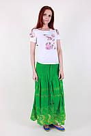 Оригинальная женская летняя юбка салатового цвета