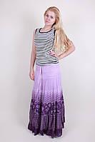 Красивая женская летняя длинная юбка фиолетового цвета