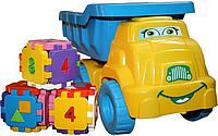 """Набор грузовик """"Смайлик"""" с конструктором №4 013585 Фламинго тойс (желто-голубой)"""
