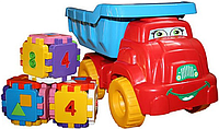 """Набор грузовик """"Смайлик"""" с конструктором №4 013585 Фламинго тойс (красно-голубой)"""