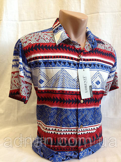 Рубашка мужская короткий рукав LORENTI (3х цветовая)