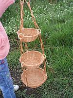 Цветочник подвесной на 3 цветка, плетенный из лозы. Сплошное плетение.