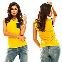 Женская шелковая блуза c открытыми плечами и карманом на груди