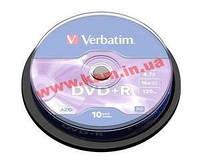 Диски VERBATIM DVD+R 4,7Gb 16x Cake 10 pcs Silver (43498)