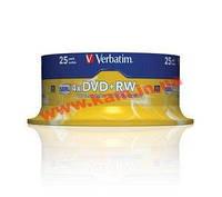 Диск VERBATIM DVD+RW 4,7Gb 4x Cake 25 pcs Silver (43489)