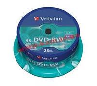 Диск VERBATIM DVD-RW 4,7Gb 4x Cake 25 pcs Silver (43639)