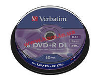 Диск VERBATIM DVD+R 8,5Gb DL 8x Cake 10 pcs 43666