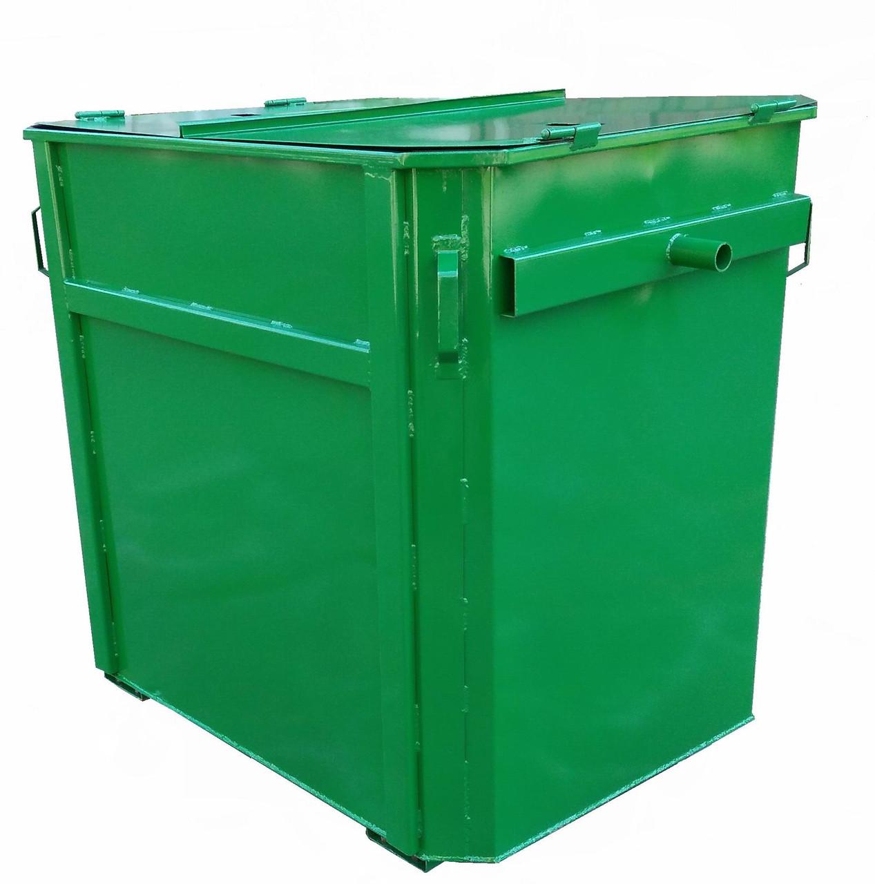 Металлический контейнер 1,1 м.куб под евромусоровоз