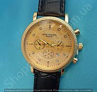Часы Patek Philippe 114036 золотистые мужские на черном ремешке с календарем копия