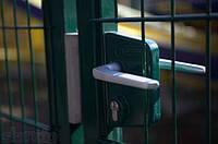 Распашные ворота из металлических панелей. Размеры 2430х4000 с фурнитурой и упором Locinox, фото 1