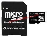 Карта памяти SiliconPower Micro SDHC Class4 8Gb P/ N:SP008GBSTH004V10: High Capac (SP008GBSTH004V10)
