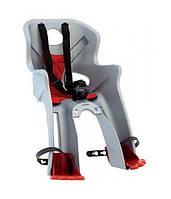 Сиденье переднее Bellelli RABBIT Sportfix до 15кг, серебристое с красной подкладкой