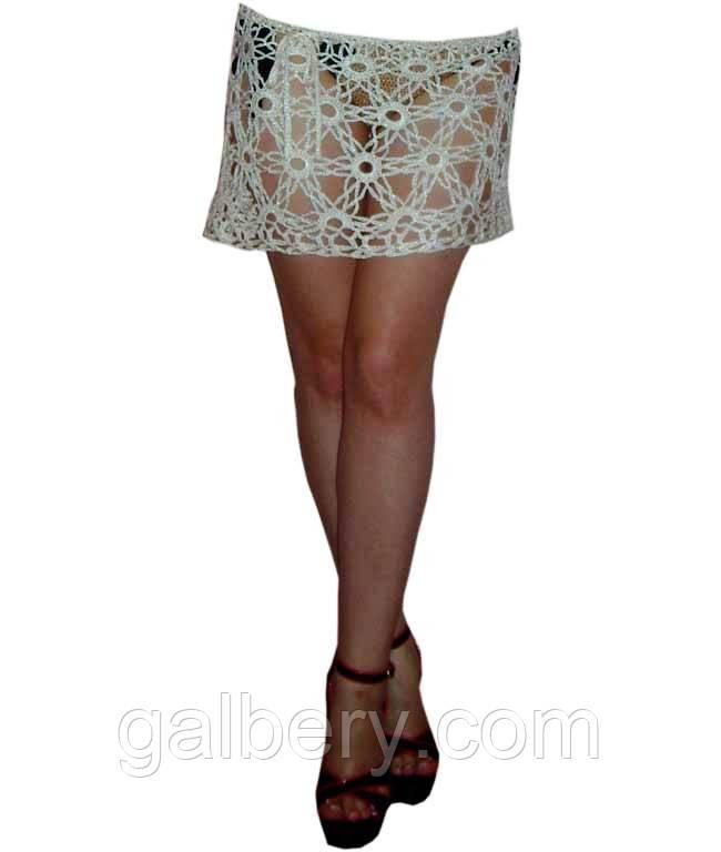 Вязаная пляжная юбочка ручной работы, меланжевого цвета белая березка
