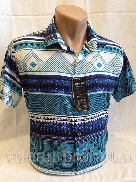 Рубашка мужская короткий рукав LORENTI (бирюза)