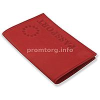 """Кожаная обложка на паспорт с тиснением """"EUR Passport"""", цвет красный"""