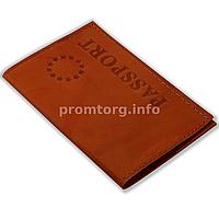 """Кожаная обложка на паспорт с тиснением """"EUR Passport"""", цвет коричневый"""