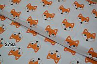 Бязь с мордочками лисичек оранжевого цвета (№279а)
