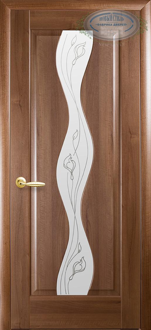 Двери Новый стиль Волна ПО+Р2 золотая ольха