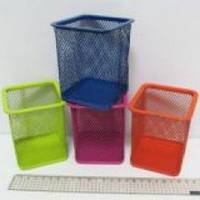 Стакан для ручек J.Otten металлич. 8х8х10см. квадратн. цветн. микс