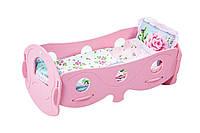 Кроватка для кукол деревянная (розовая) арт. 040