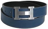 Кожаный мужской ремень под джинсы с логотипом Hermes 2746 голубой ДхШ: 117х4 см.
