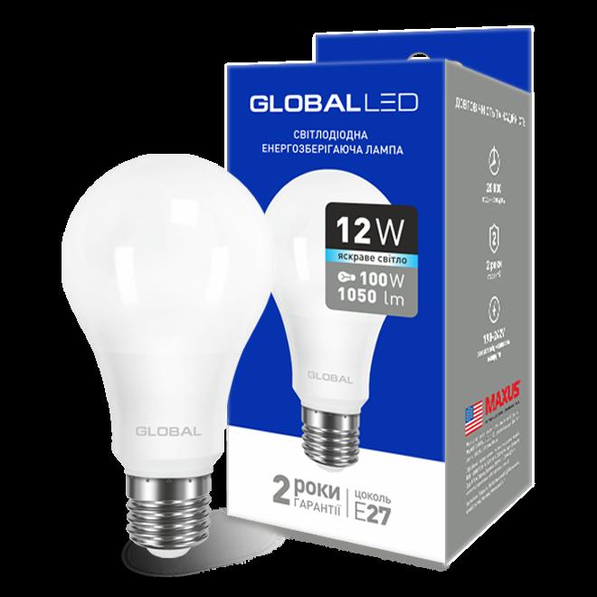 LED лампа GLOBAL A60 12W  220V E27 (яркий свет)