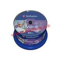 43512 Verbatim DVD+R 50 pk диск Retail Spindle wide inkjet photo printable No ID 4.7GB 16x ( (43512)