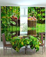 Фото шторы скатерть на кухню яблоки