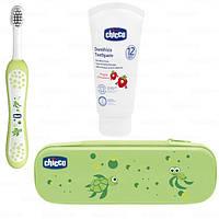 Дорожный набор зубная щетка + зубная паста Chicco Зеленый