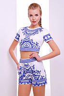 Летнийженский  костюм топик с шортами | Узор синий костюм8 весна