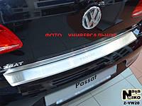 Накладка на задний бампер на Фольцваген Пассат В-8 с 2015> седан (нерж) с загибом NataNico.