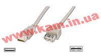 Кабель USB 2.0 (AM/ AF) DIGITUS 3.0м (удлинитель) White/ Белый, bulk (AK-300200-030-E)