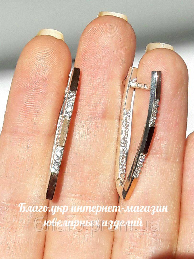 """Серебряные серьги """"Илона 2"""" с накладками золота"""