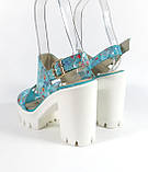 Голубые босоножки на каблуке , фото 3