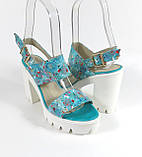Голубые босоножки на каблуке , фото 2