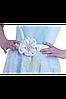 Женское нарядное с поясом  платье голубого цвета. , фото 3
