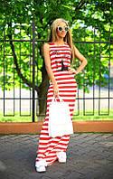 Платье Вискозное яркая полоска с накаткой цвет красный