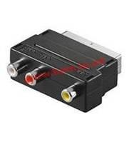 Переходник аудио-видео SCART->RCAx3M/ F, Standart, PolyBag, черный, Value (75.05.0122-140)