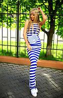 Платье Вискозное яркая полоска с накаткой цвет синяя