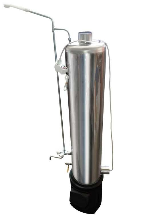 Дровяная колонка из нержавеющей стали с ТЭНом и смесителем 80 литров