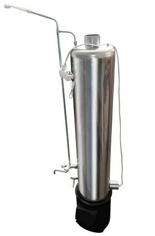 Дровяная колонка из нержавеющей стали с ТЭНом и смесителем 80 литров, фото 2