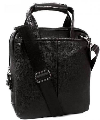 Деловая кожаная сумка с отделением для планшета и документов А4 черного цвета Alvi av-2-9341
