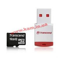 Карта памяти Transcend MicroSDHC 16GB (Class 10) + ридер (TS16GUSDHC10-P3)