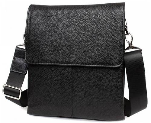 Элегантная мужская сумка черного цвета для работы, кожаная  Alvi av-30-9721