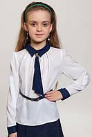 Школьная белая блуза трансформер  для девочки.