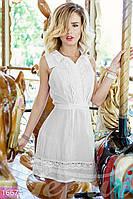 Романтичное женское платье рубашка на пуговицах с кружевной отделкой без рукавов батист